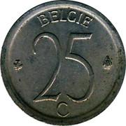 Belgium 25 Centimes 1964 KM# 154.2 Decimal Coinage BELGIE 25 C coin reverse
