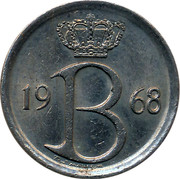 Belgium 25 Centimes 1968 KM# 154.1 Decimal Coinage 19 B 64 RAF MAILLEUX coin obverse