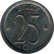 Belgium 25 Centimes 1968 KM# 154.1 Decimal Coinage BELGIE 25 C coin reverse