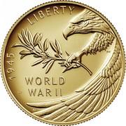 USA 25 Dollars End of World War II 75th Anniversary 2020 W Proof 1945 LIBERTY WORLD WAR II coin obverse