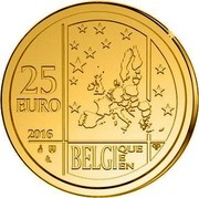 Belgium 25 Euro 175th Anniversary of the Royal Numismatic Society of Belgium 2016 25 EURO 2016 BELGIQUE E EN Q P coin reverse