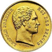 Belgium 25 Francs 1849 KM# 13.1 Decimal Coinage LEOPOLD PREMIER ROI DES BELGES L. WIENER coin obverse