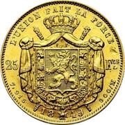 Belgium 25 Francs 1849 KM# 13.1 Decimal Coinage L'UNION FAIT LA FORCE 25 FCS 7,915 18 48 900 / M coin reverse