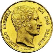 Belgium 25 Francs 1850 KM# 13.3 Decimal Coinage LEOPOLD PREMIER ROI DES BELGES L. WIENER coin obverse