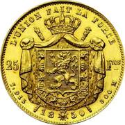 Belgium 25 Francs 1850 KM# 13.3 Decimal Coinage L'UNION FAIT LA FORCE 25 FCS 7,915 18 50 900 M coin reverse
