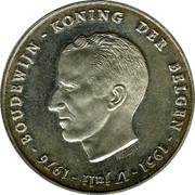 Belgium 250 Francs 25 years Reign of King Baudouin ND Prooflike KM# 158.2 BOUDEWIJN - KONING DER BELGEN - 1951 - 17 JULI - 1976 - ANT. LUYCKX coin obverse