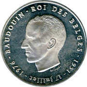 Belgium 250 Francs 25 years Reign of King Baudouin ND Prooflike KM# 157.2 BAUDOUIN ROI DES BELGES 1951 17 JUILLET 1976 ANT. LUYCKX coin obverse