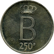 Belgium 250 Francs 25 years Reign of King Baudouin ND Prooflike KM# 158.2 B 250F coin reverse