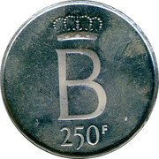 Belgium 250 Francs 25 years Reign of King Baudouin ND Prooflike KM# 157.2 B 250F coin reverse