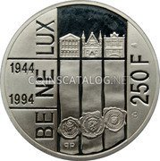 Belgium 250 Francs (250 Frank) ND Proof KM# 195 Decimal Coinage coin reverse