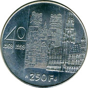 Belgium 250 Francs 40th Wedding Anniversary of King Albert II and Queen Paola 1999 KM# 209 40 1959 1999 250 F Q P coin reverse
