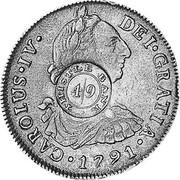 UK 4 Shillings 9 Pence ND KM# CC49 Scotland DEI GRATIA 1791 CAROLUS IV coin obverse
