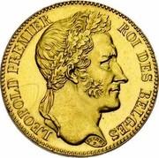 Belgium 40 Francs 1834 KM# B23.2 Decimal Coinage LEOPOLD PREMIER ROI DES BELGES BRAEMT F. coin obverse