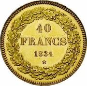 Belgium 40 Francs 1834 KM# B23.2 Decimal Coinage 40 FRANCS 1834 coin reverse
