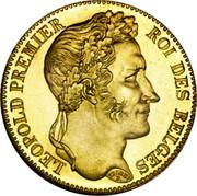 Belgium 40 Francs 1835 KM# B23.1 Decimal Coinage BRAEMT F. LEOPOLD PREMIER ROI DES BELGES coin obverse