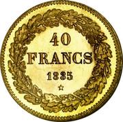 Belgium 40 Francs 1835 KM# B23.1 Decimal Coinage 40 FRANCS 1835 coin reverse
