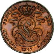 Belgium 5 Centimes 1847 KM# 5.1 Decimal Coinage LEOPOLD PREMIER ROI DES BELGES 1847 coin obverse