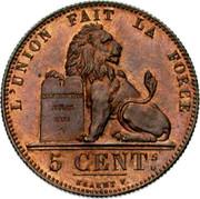 Belgium 5 Centimes Leopold I 1847 KM# 5.1 L'UNION FAIT LA FORCE CONSTITUTION BELGE 1831 5 CENTS BRAEMT F. coin reverse