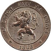 Belgium 5 Centimes 1863 KM# 21 Decimal Coinage L'UNION FAIT LA FORCE BRAEMT 1863 coin obverse