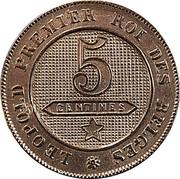 Belgium 5 Centimes 1863 KM# 21 Decimal Coinage LEOPOLD PREMIER ROI DES BELGES 5 CENTIMES coin reverse