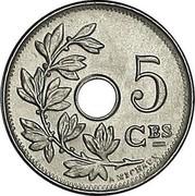 Belgium 5 Centimes 1910 KM# 66 Decimal Coinage 5 CES A. MICHAUX coin reverse