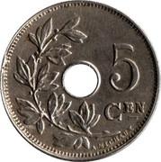 Belgium 5 Centimes 1914 KM# 67 Decimal Coinage 5 CEN A. MICHAUX coin reverse
