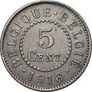 Belgium 5 Centimes 1916 KM# 80 Decimal Coinage BELGIQUE BELGIE 5 CENT. 1916 coin reverse