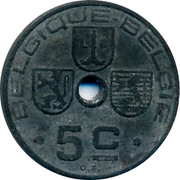 Belgium 5 Centimes 1941 KM# 123 Decimal Coinage BELGIQUE BELGIE L G 5 C O. J. coin obverse