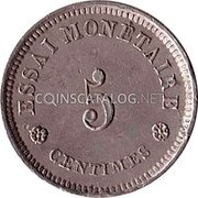Belgium 5 Centimes (Leopold I) ESSAI MONETAIRE 5 CENTIMES coin obverse