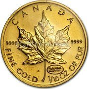 Canada 5 Dollars (Maple Leaf. 20 Years ANS Privy) CANADA 9999 9999 FINE GOLD 1/10 OZ OR PUR 20 YEARS ANS coin reverse