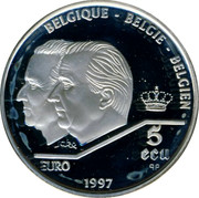 Belgium 5 ECU 40th Anniversary of Treaty of Rome 1997 (qp) Proof KM# 205 BELGIQUE BELGIE BELGIEN 5 ECU EURO 1997 coin obverse