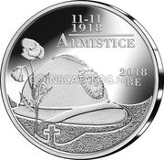 Belgium 5 Euro (100th Anniversary of the end of the 1st World War) 11-11 1918 ARMISTICE 2018 BE coin obverse