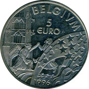 Belgium 5 Euro 1996 UNC Country Standart Coinage BELGIUM 5 EURO coin reverse