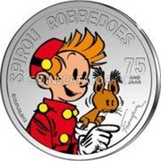 Belgium 5 Euro (75th Anniversary of Comic Strip Spirou. Colored) KM# 327a SPIROU ROBBEDOES 75 ANS JAAR © DUPUIS.2013 FRANQUIN coin reverse