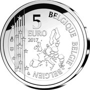 Belgium 5 Euro Gaston Lagaffe 2017 Proof 5 EURO 2017 BELGIQUE BELGIE BELGIEN LL coin obverse