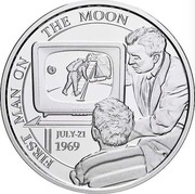Belgium 5 Euro Moonlanding 2019 FIRST MAN ON THE MOON JULY-21 1969 coin obverse