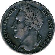 Belgium 5 Francs Leopold I 1848 KM# 3.2 BRAEMT F. LEOPOLD PREMIER ROI DES BELGES coin obverse