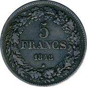 Belgium 5 Francs Leopold I 1848 KM# 3.2 5 FRANCS 1848 coin reverse