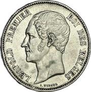 Belgium 5 Francs Leopold I 1849 KM# 17 LEOPOLD PREMIER ROI DES BELGES L. WIENER coin obverse