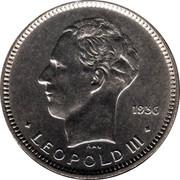 Belgium 5 Francs 1936 KM# 109.1 Decimal Coinage 1936 RAU LEOPOLD III coin obverse