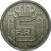 Belgium 5 Francs 1941 KM# 130 Decimal Coinage 5 FR 1941 coin reverse