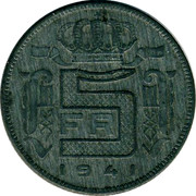 Belgium 5 Francs 1941 KM# 129.1 Decimal Coinage 5 FR 1941 coin reverse