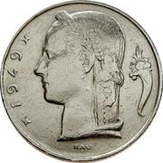 Belgium 5 Francs 1949 KM# 135.1 Decimal Coinage 1949 RAU coin obverse