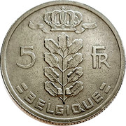 Belgium 5 Francs 1949 KM# 134.1 Decimal Coinage 5 FR BELGIQUE coin reverse