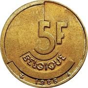 Belgium 5 Francs 1986 KM# 163 Decimal Coinage 5F BELGIQUE 1986 coin reverse