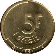 Belgium 5 Francs 1991 Sets only KM# 164 Decimal Coinage 5F BELGIË 1987 coin reverse