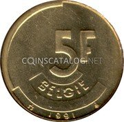 Belgium 5 Francs (5 Frank) 1991 Sets only KM# 164 Decimal Coinage coin reverse
