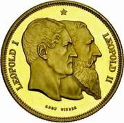 Belgium 5 Francs (50 Years of Belgium) X# M8b LEOPOLD I LEOPOLD II LEOP WIENER coin obverse