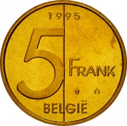Belgium 5 Francs Albert II 1995 Sets only KM# 190 1998 5 FRANK BELGIË coin reverse
