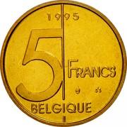 Belgium 5 Francs Albert II 1995 Sets only KM# 189 5 FRANCS BELGIQUE 1995 coin reverse